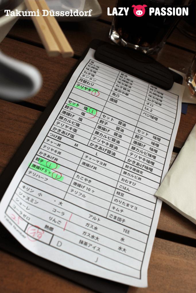 Takumi Dusseldorf checklist