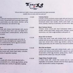 Tensai Ramen Rotterdam menu ramen 2018