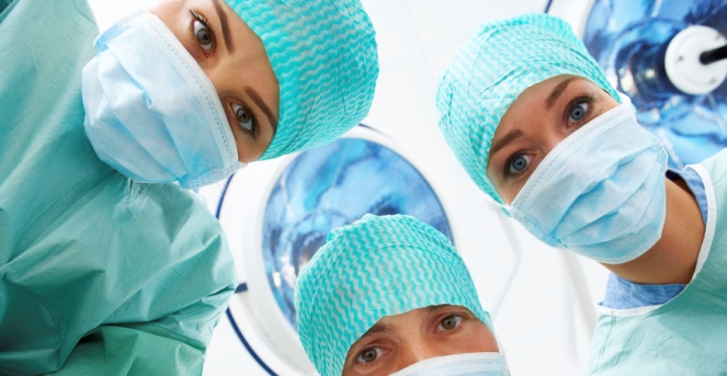 A patients view of the doctors, just before going into surgery.