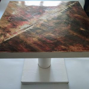Table basse blanc brun or rose 3