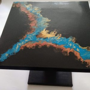 Table basse noir bleu turquoise bronze or