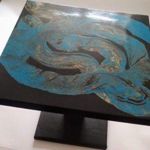 Table basse turquoise bronze noir