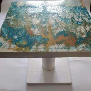 Table basse turquoise or blanc