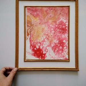Tableau encadré rose et or