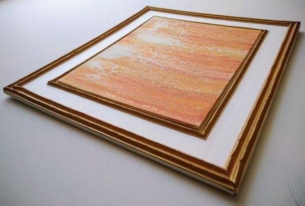 Tableau encadré or orange et blanc 3