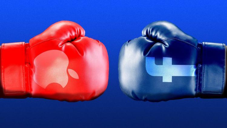 gants de boxes (rouge avec logo apple, bleu avec logo facebook)