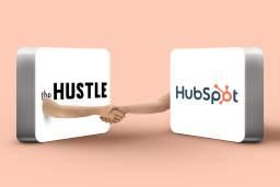 Logos Hubspot et The Hustle qui se serrent la main