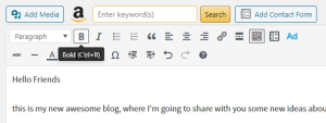 WordPress editor Bold function