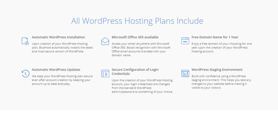 all WordPress hosting plans inside Bluehost