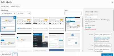 add media inside WordPress control panel