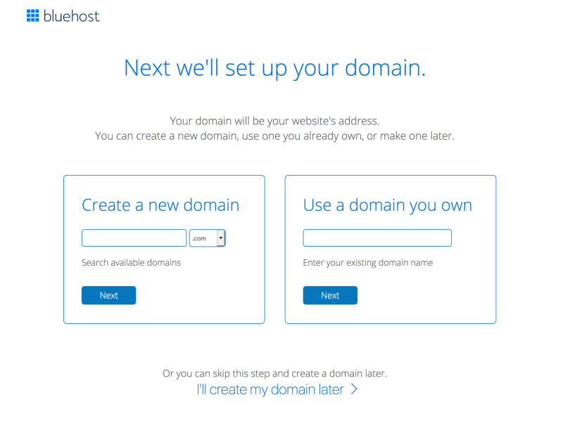 choose your free domain name with Bluehost hosting plans