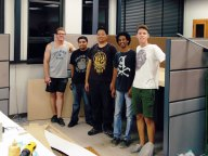 Makers in Front of Newly Installed Workbench