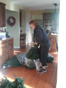 Lugging the Christmas Tree upstairs is always a hassle, and quite a workout.
