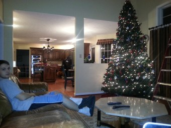 Now that the tree is finished we all sat down to watch Christmas Vacation.