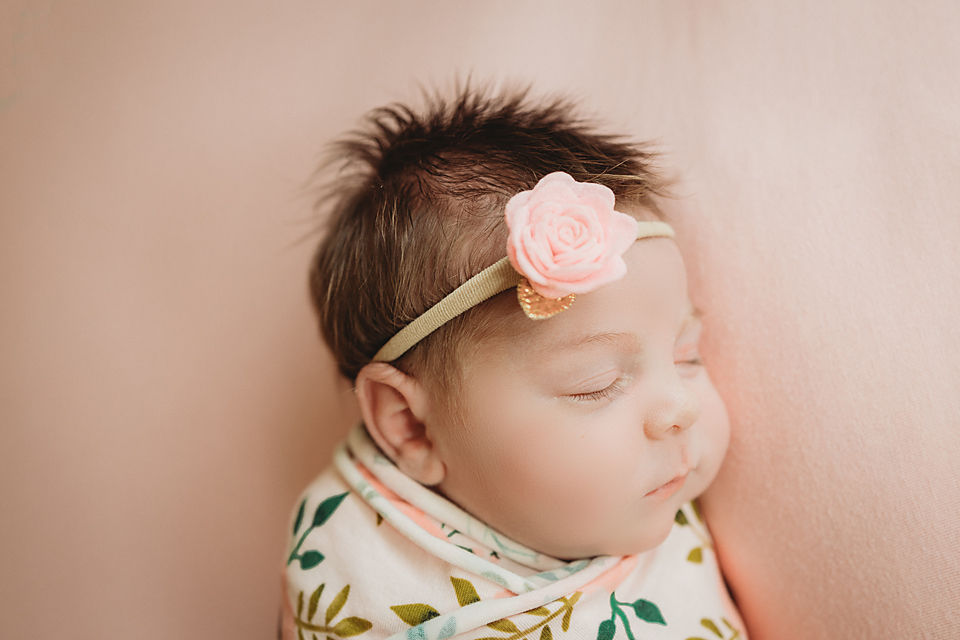 Newborn baby girl poses for newborn photo session in Tampa, Florida photography studio