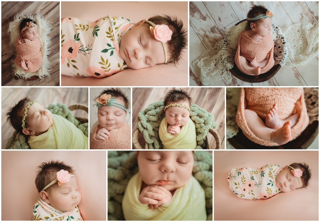 Newborn photographer located in Tampa, Florida. Tampa, Florida Newborn photography. Newborn wrapped in pink and yellow for newborn photo session. Tampa, Florida Newborn Photographer. Newborn session in Tampa.