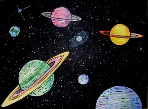 space outer galaxy drawings astronomy solar chalk system
