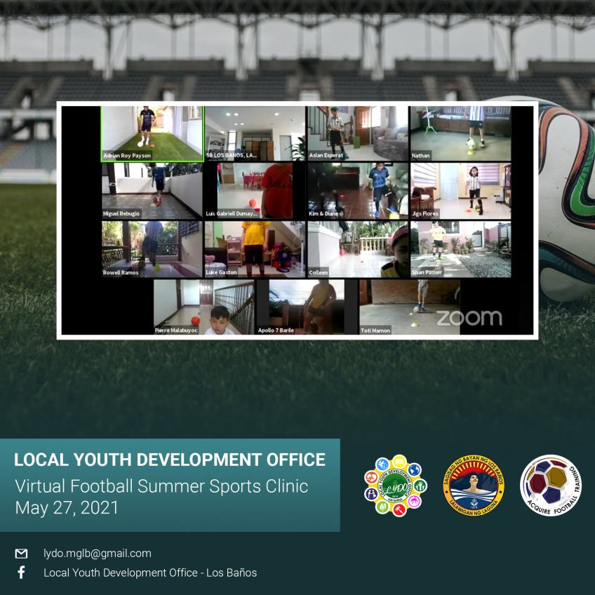Sports in the New Normal. Los Baños Virtual Football Summer Sports Clinic held last May 27, 2021. Photo from Local Youth Development Office of Los Baños