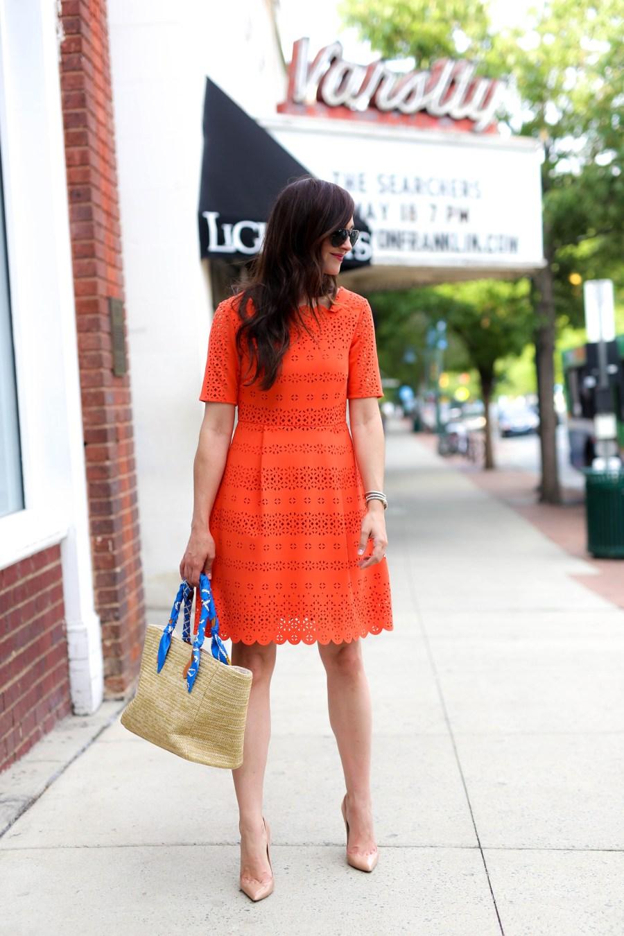 orange fit flare dress