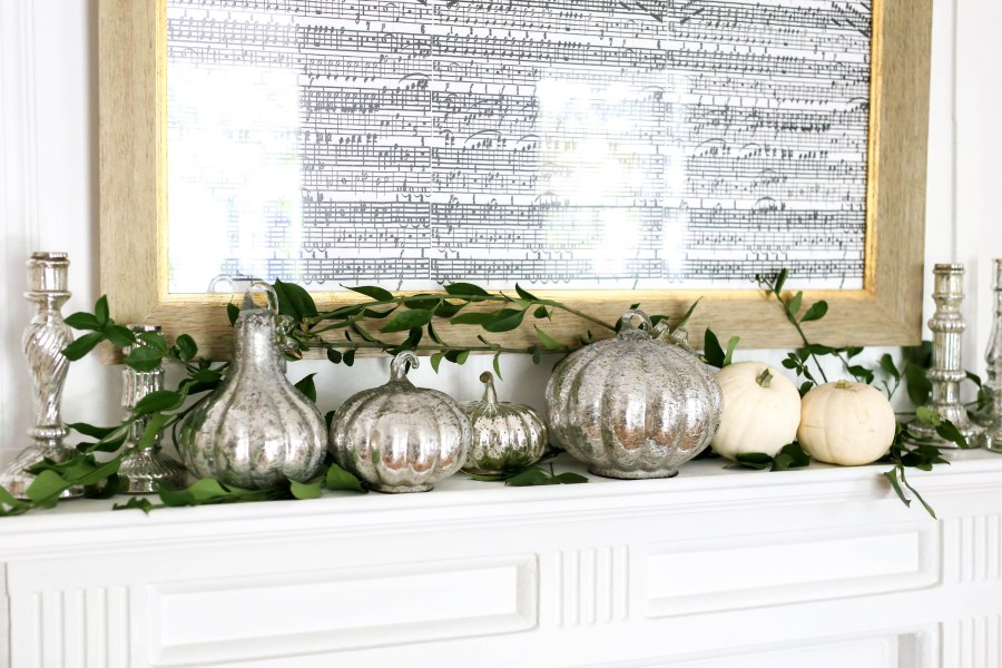 fall mantle // mercury glass pumpkins // southern blogger