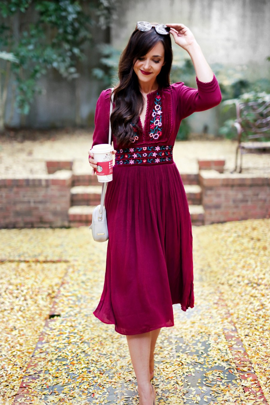 fall dress // christmas card photo dress // burgandy dress