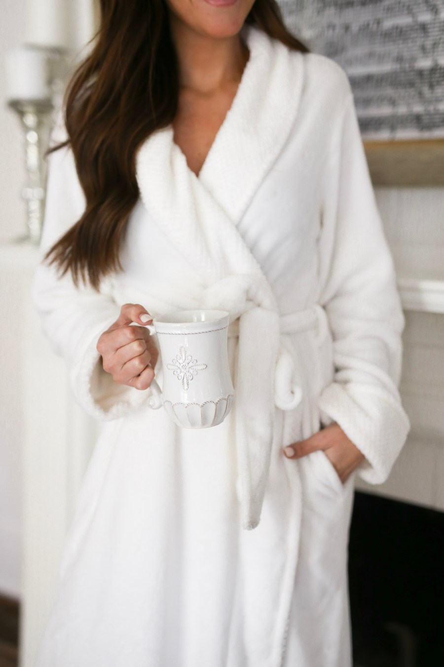 white fleece robe