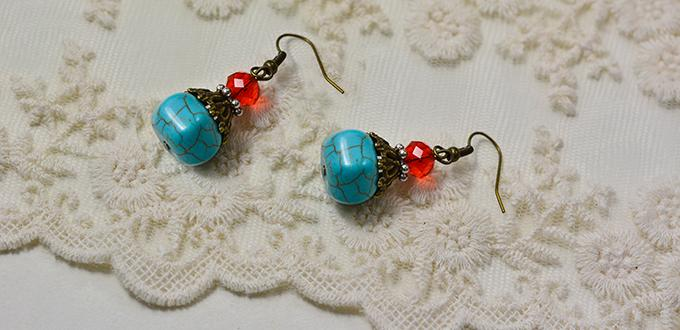 How to Make a Pair of Easy Turquoise Bead Drop Earrings