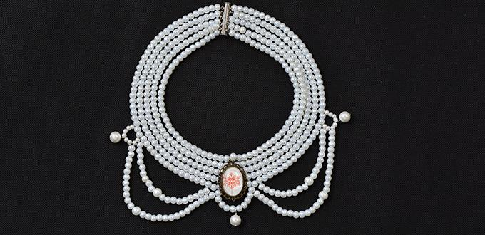 Guide on How to Make a Multi-stranded Pearl Choker Necklace with Personalized Tibetan Style Cabochon