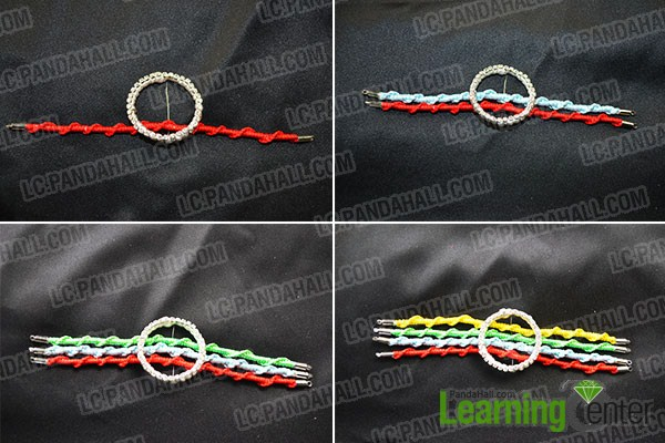 combine the 4 woven bracelets with wrapped ring