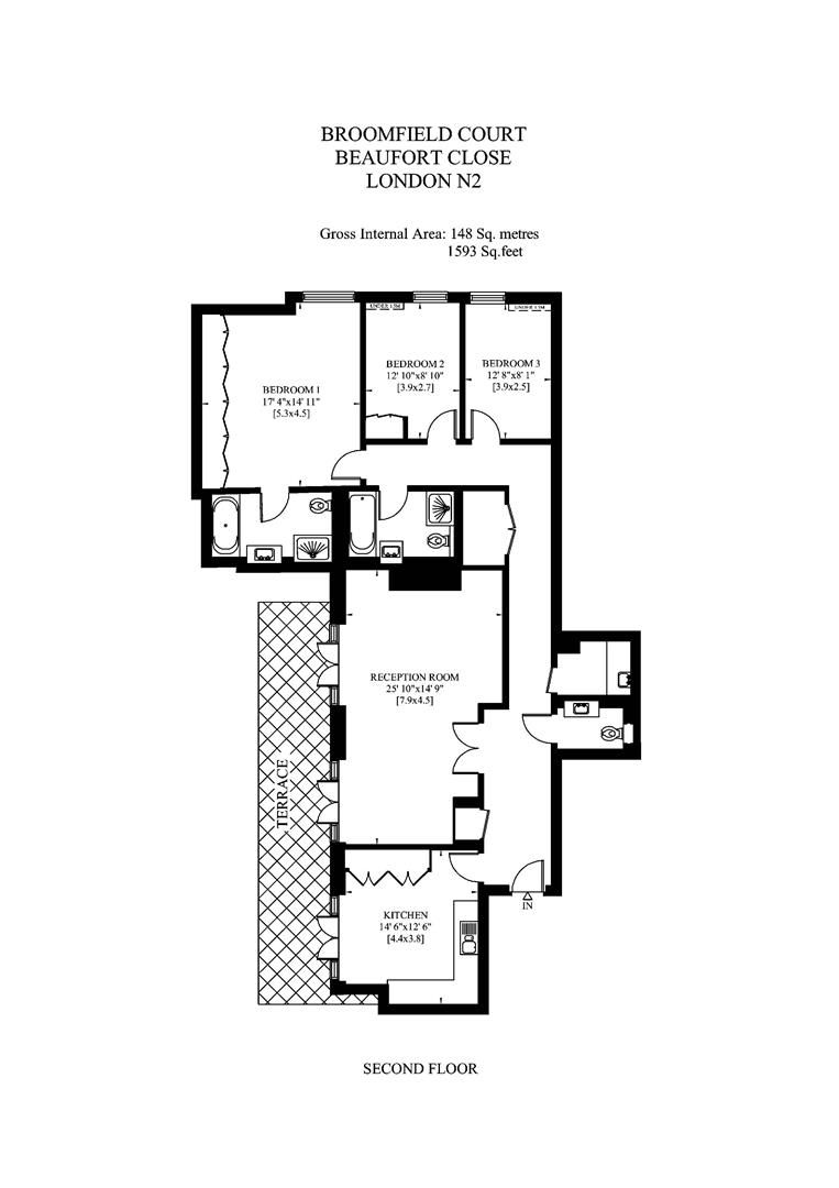 Broomfield Court, Bishops Park N2, 3 bedroom flat for sale