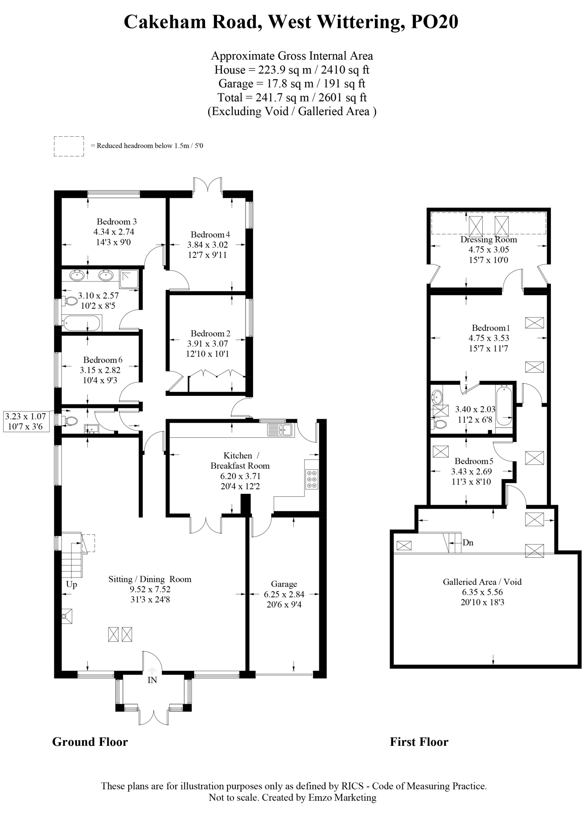 6 bed detached house for sale in Cakeham Road, West