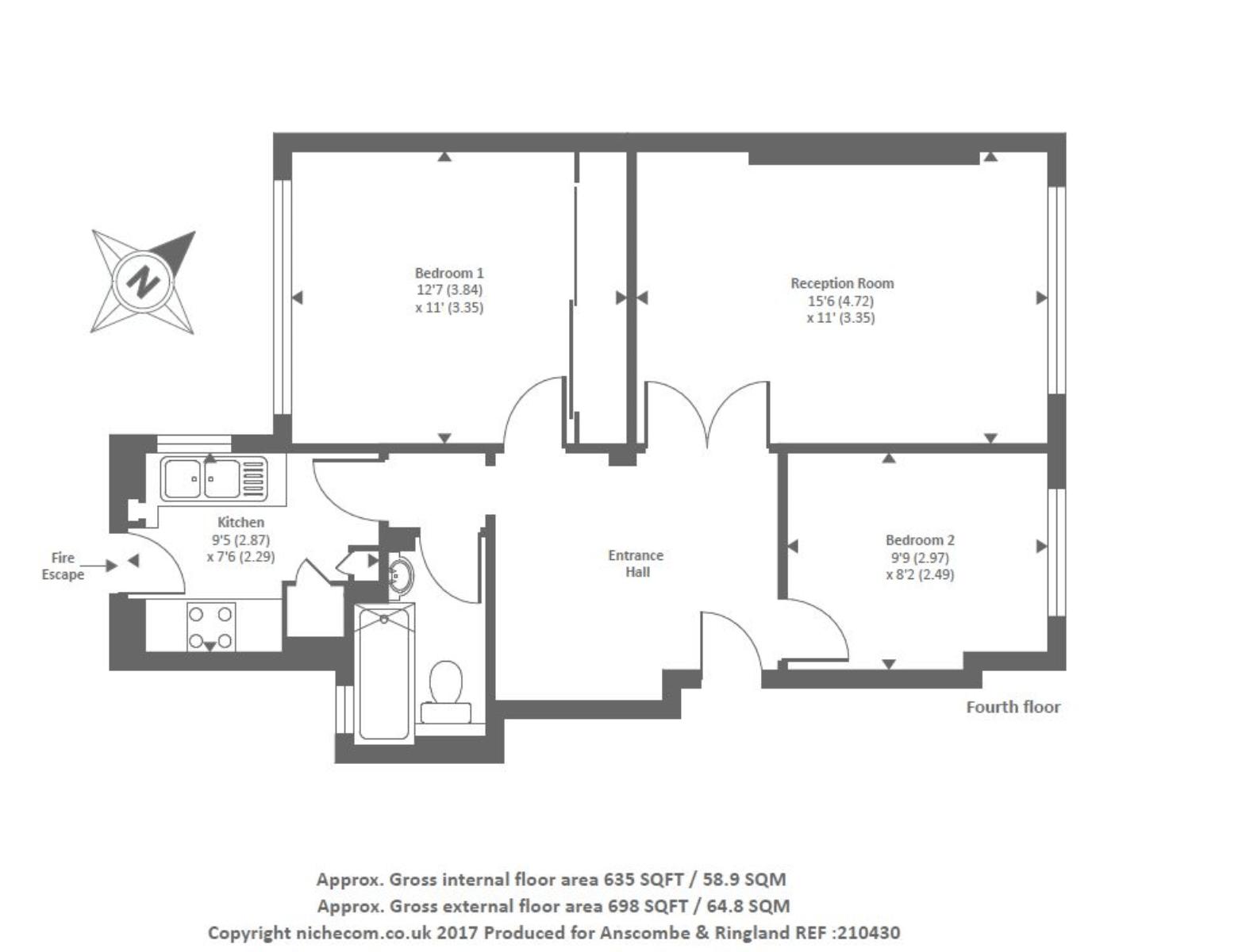 Charlbert Court, St John's Wood NW8,, 2 bedroom flat for