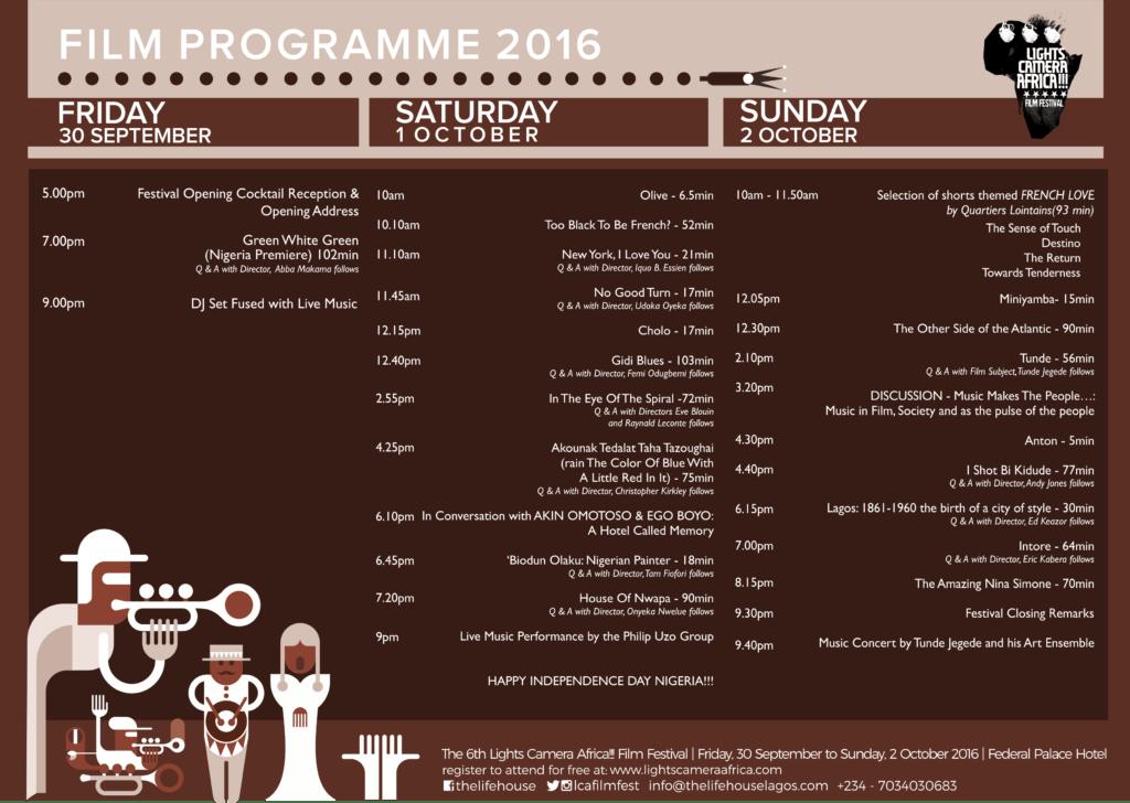 Lights Camera Africa Programme 2016
