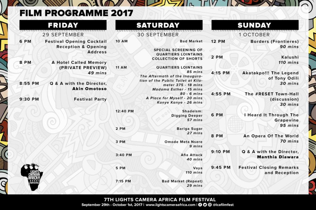 Lights Camera Africa 2017 Programme
