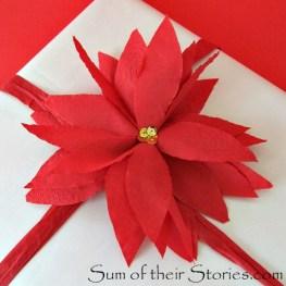 Easy Paper Napkin Poinsettias - http://www.sumoftheirstories.com/2015/12/easy-paper-serviette-poinsettias.html