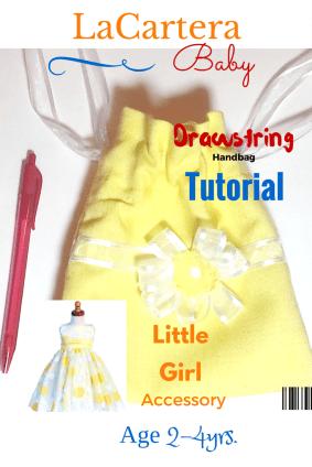 Little Girls Drawstring pouch - https://lacarteradesigns.com/2016/03/24/little-girls-drawstring-handbag-tutorial/