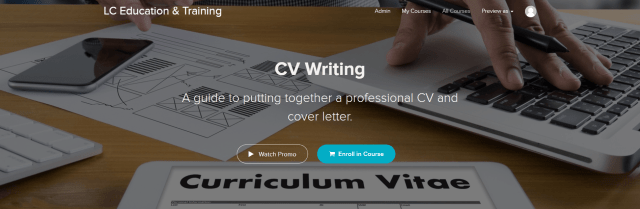 Picture of CV writing course enrolment page