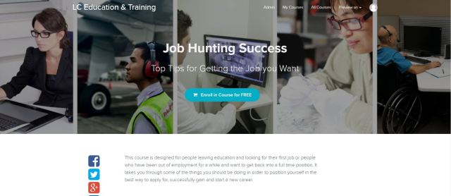 Image of the online course enrolment page for job hunting success