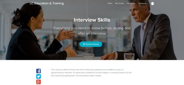 Image of the course enrolment page for Job Interviews