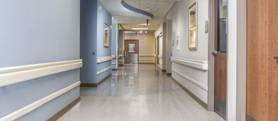 Hospital Hallway doors and ceilings with railings on walls
