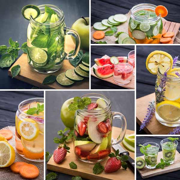 apa infuzata cu fructe, legume si ierburi, lamaie, castravete, zmeura, lime