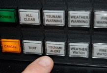 The air-raid style sirens that blared across Depoe Bay Jan. 2 were set-off at this control panel located at Depoe Bay City Hall. The indecipherable message that accompanied the siren was among six prerecorded (canned) messages included in the city's early warning system. (Photo by Rick Beasley)