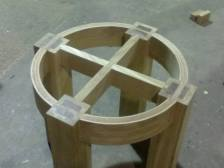 Round oak coffee table , ready for glass top