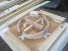 Round Oak coffee table joints marked out from drawing rod