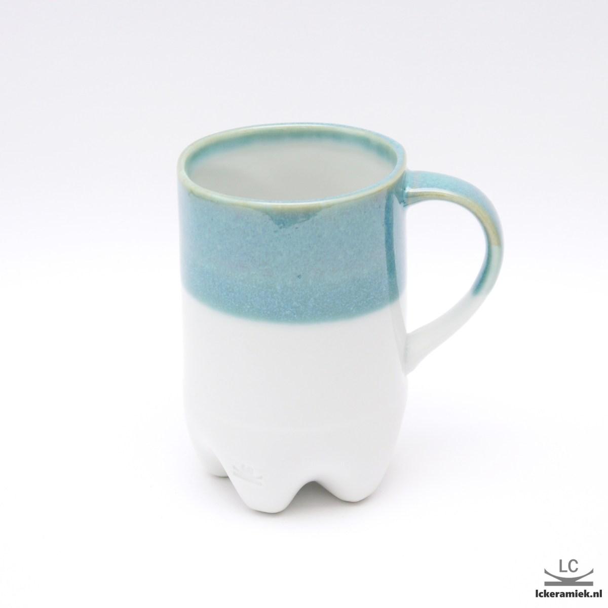 Porseleinen petfles mok turquoise wit
