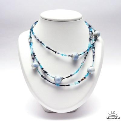 Ketting met porseleinen kralen Disbalans Blauw
