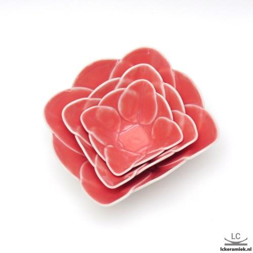 Set van 3 roze porseleinen schaaltjes