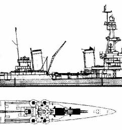 and notice that the 3 gun turrets are the upper superimposed ones this was actually the first of our washington naval treaty limited  [ 1573 x 617 Pixel ]