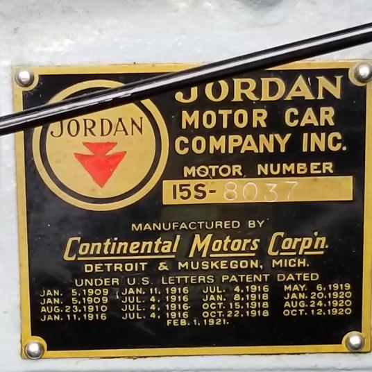 Jordan data plate.