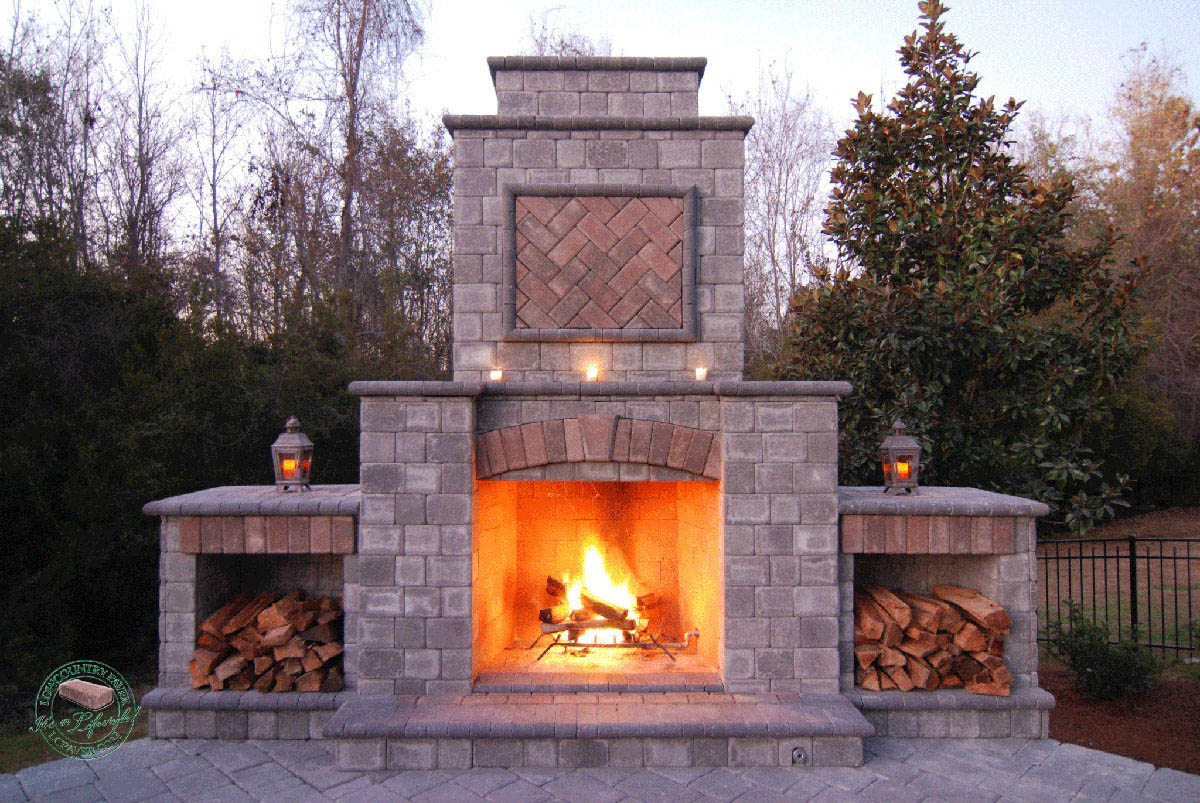 outdoor kitchen with fireplace ikea buffet and lowcountry paver